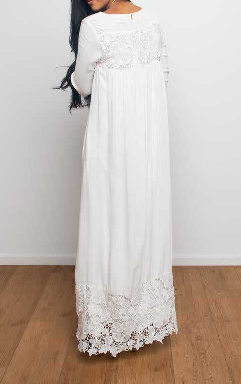 Lace Trim Maxi Full Sleeve Dress with Pockets