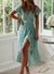 V Neck Flowy Sleeve Green Wrap Maxi Dress