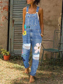 Floral Denim Sleeveless One-Pieces