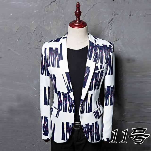 Men Colorful Stripe Print Male Blazer
