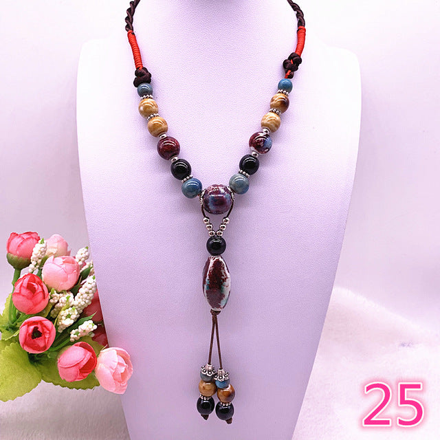 Handmade Ornaments Weave Wax Ceramics Necklace