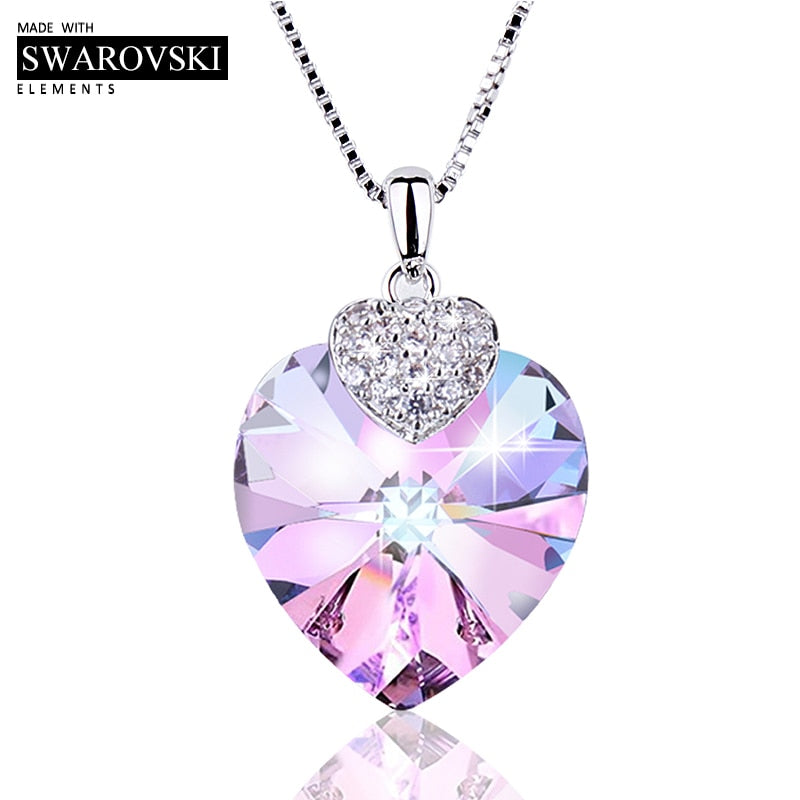 Heart Shape Amethyst Crystal Pendant Necklace