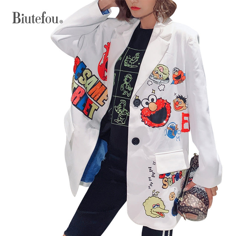 Sequins Blazers women cartoon v-neck Blazers