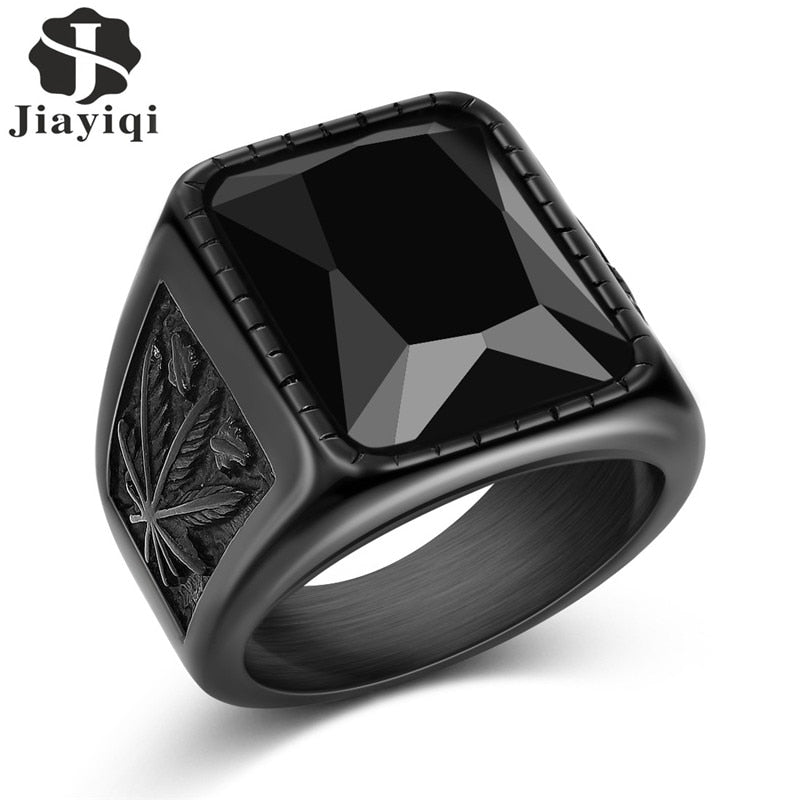 Stainless Steel Black/Red Stone Ring