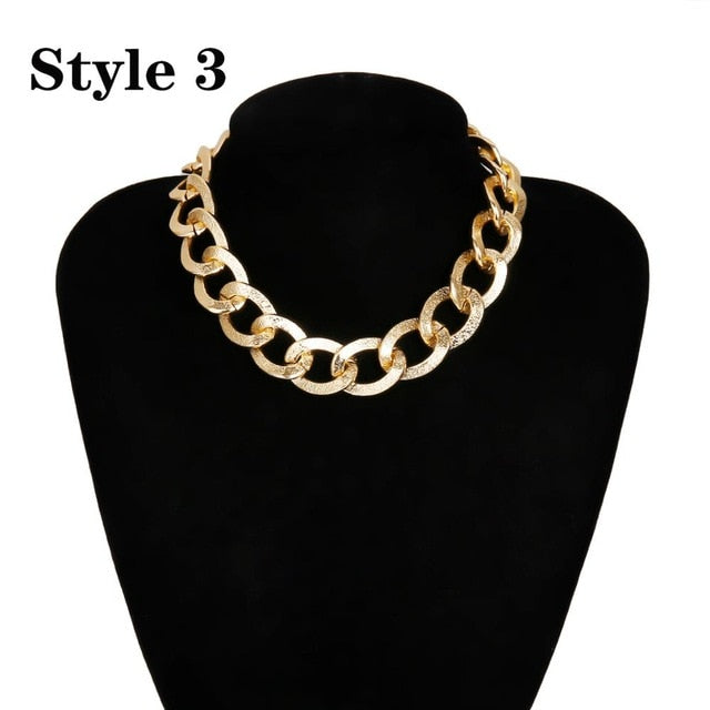 Big Chunky Aluminum Golden Thick Chain Necklace