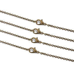 Gold Silver Antique Color Round Link Chain Necklace
