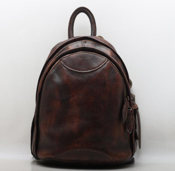 Vintage genuine leather school backpack bag
