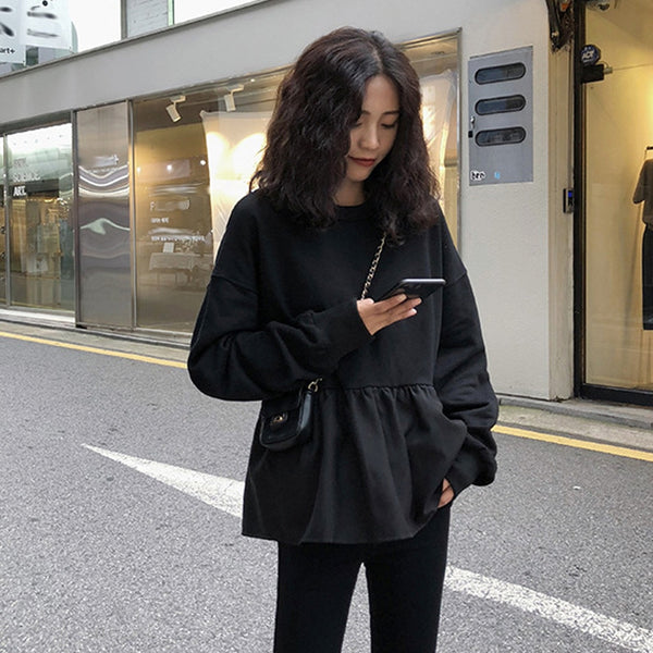 Splice Solid Ruffle Fold Long Sleeve O-Neck Sweatshirt