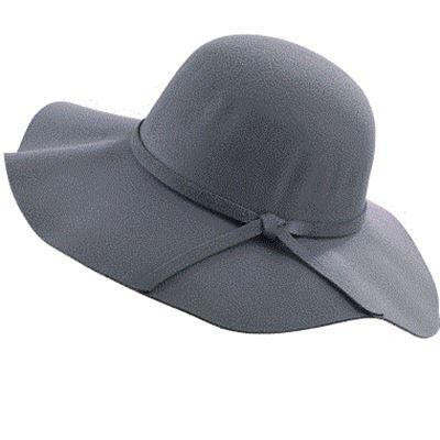 Imitation Wool with Bow-knot & Wide Brim Floppy