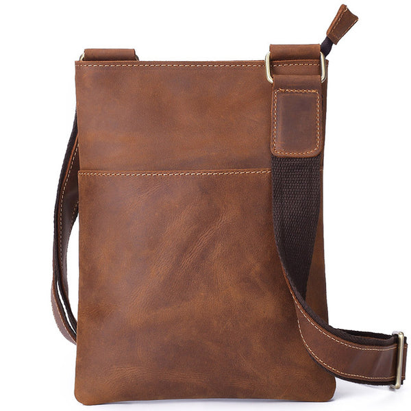 Crazy horse leather men's cross-body bag