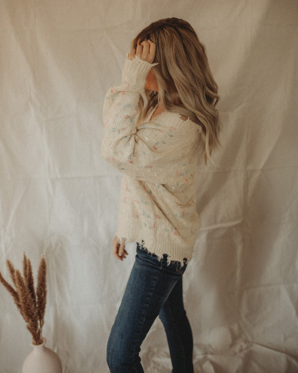 DISTRESSED CONFETTI SWEATER