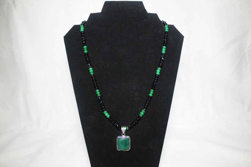 Green Emerald & Black Agate Necklace