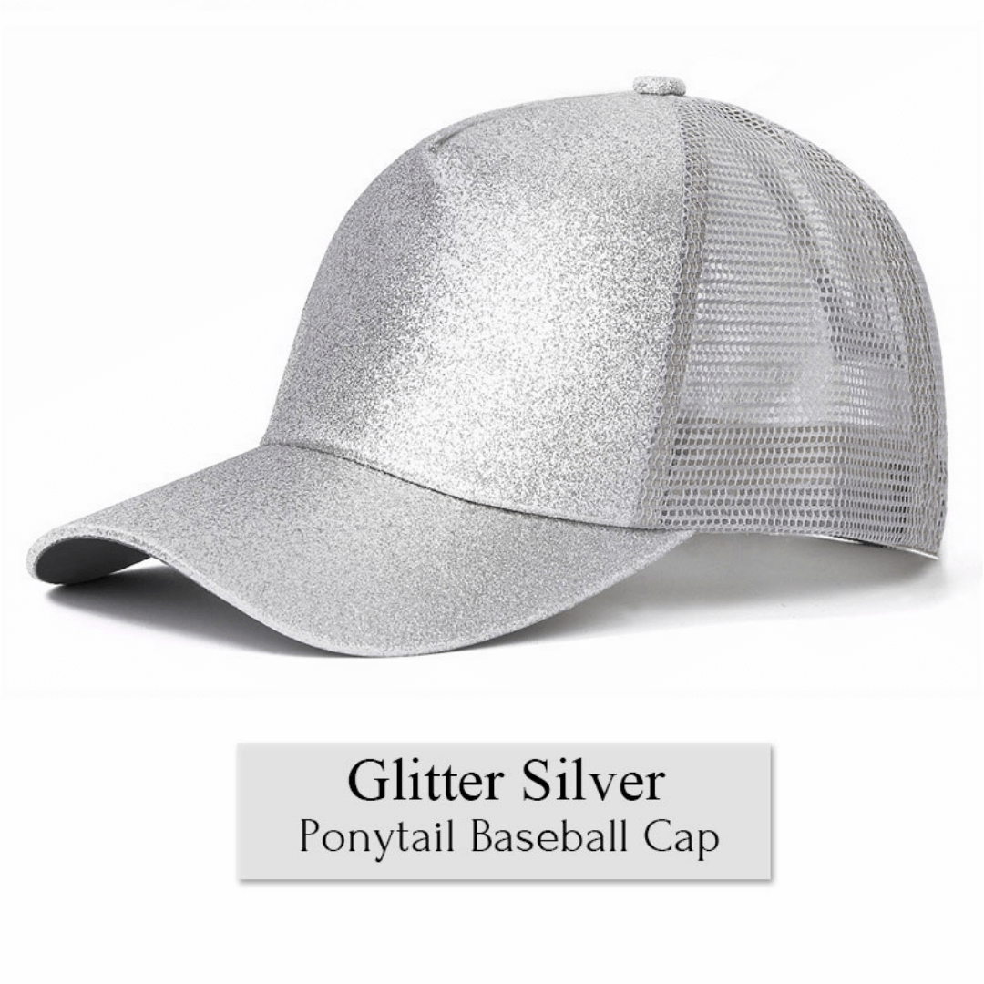 606098c4942d41 ... Load image into Gallery viewer, SideLeaf™ Cap - Glitter Ponytail Baseball  Cap ...