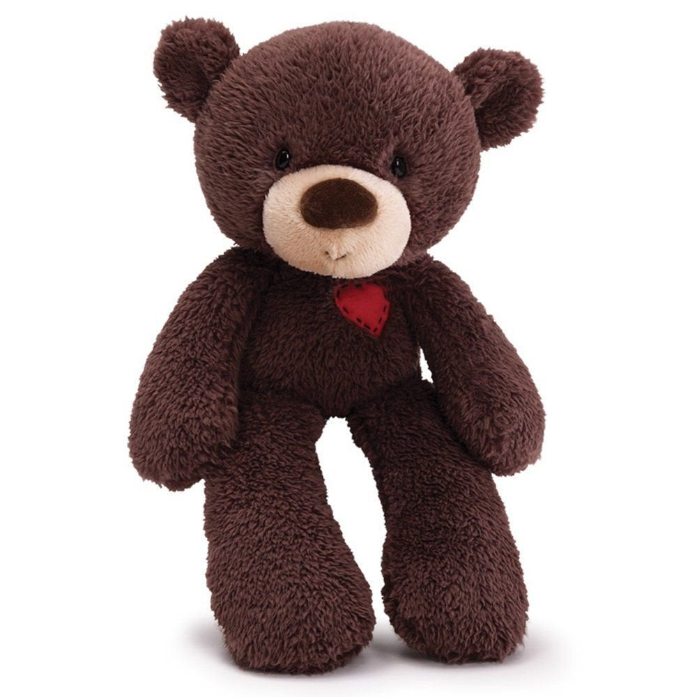 Valentine Fuzzy Dark Brown Plush Bear Gund - 14 inch bear