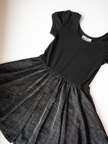 Fancy Black and Silver Dress Size 5/6 - Cap Style Dress