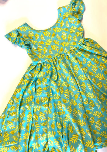 Aqua and Gold Dress Size 5/6 - Empire Style Dress