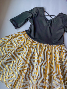 Fancy Black Dress Fancy Gold and White Skirt Size 3/4 - Ballerina Style Dress