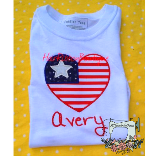 Patriotic Heart Embroidered Shirt - Personalized