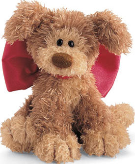 Snooky Dog Plush with big red bow-  Christmas Plush Gund Dog