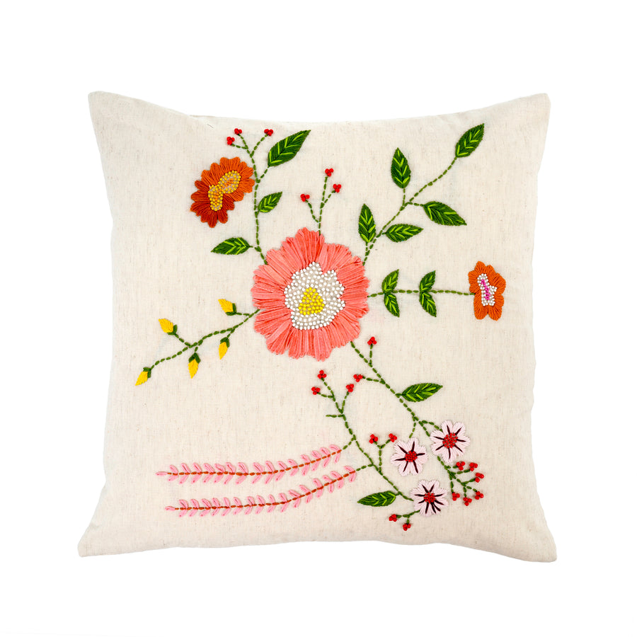 Flora Bouquet Embroidered Pillow Cream 20x20