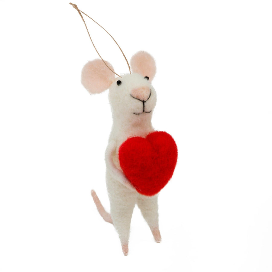 Love You Lenny Ornament Felt Mouse with Red Heart
