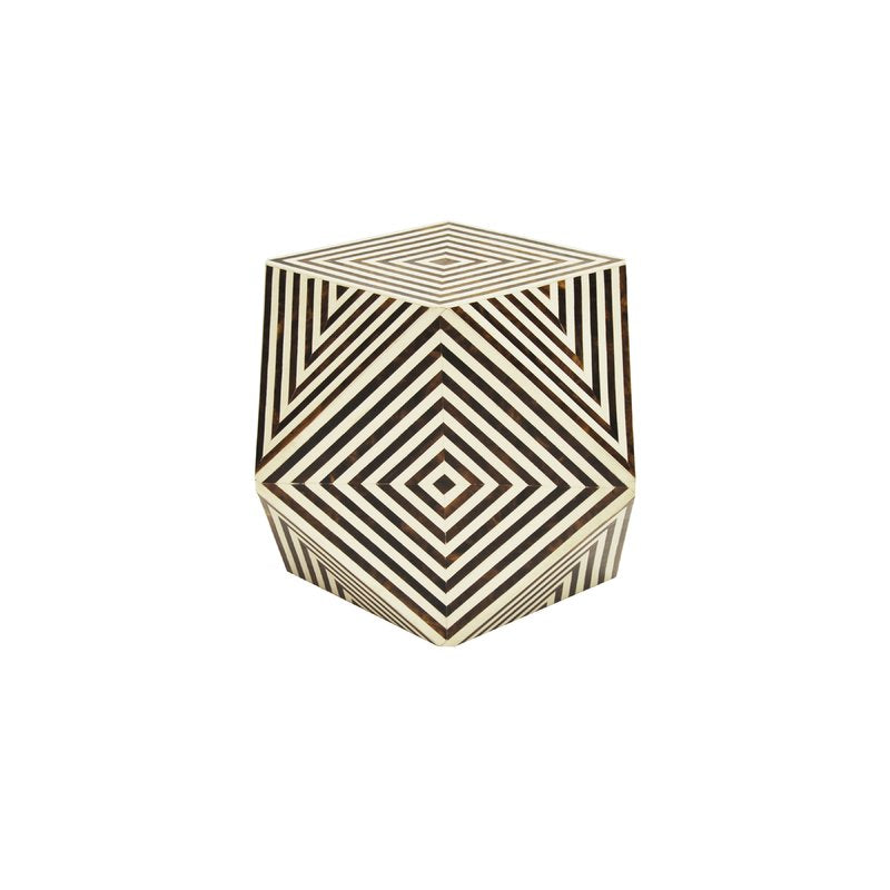 Geo Brown and White Bone Side Table