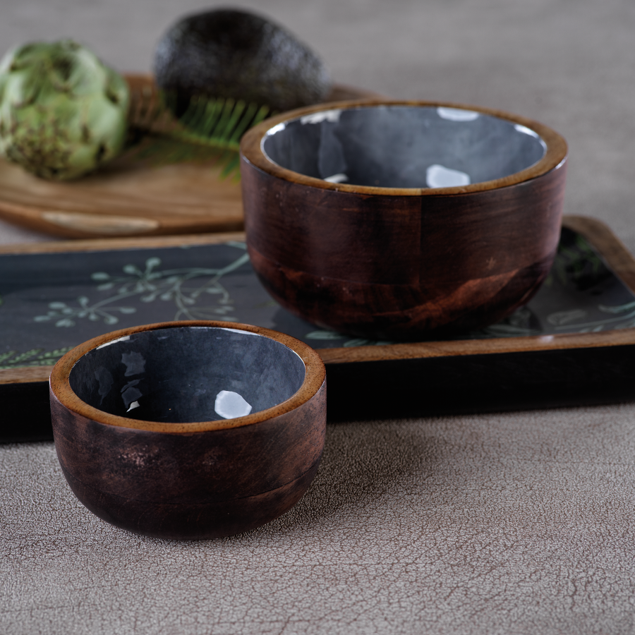 Desert Oasis Gray Mango Wood Condiment Bowl