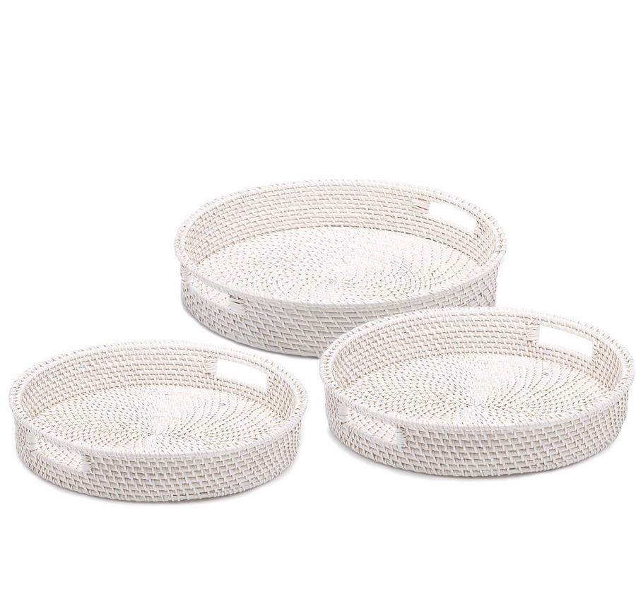 White Rattan Basket Trays