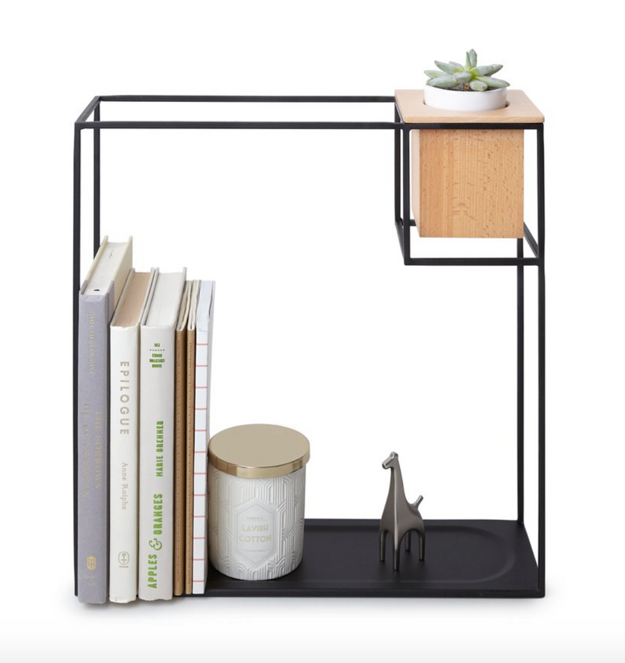 Wall Shelf Display with Wood Cube