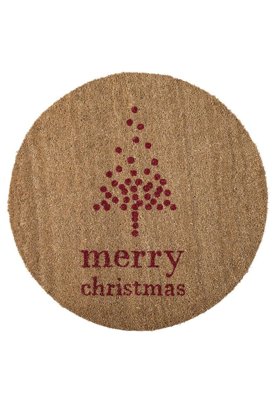 Merry Christmas Round Coir Doormat