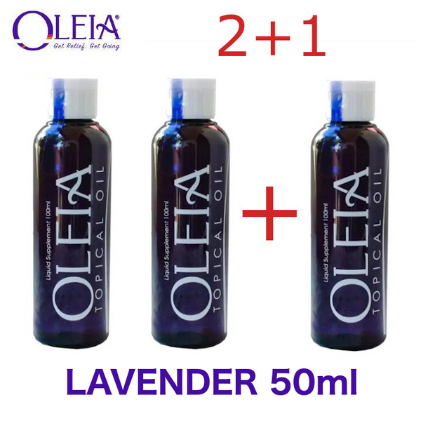 2+1 Promo Oleia Topical Oil Lavender 50mL bottles Cetylated Fatty Acid Oil Soothing and Relaxing Oil 3 bottles