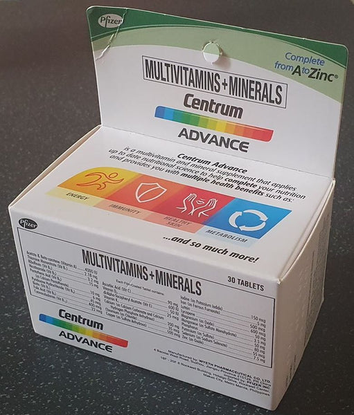 Centrum Advance Multivitamins and Minerals Complete from A to Zinc 30 tablets 1 box