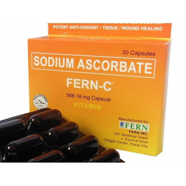 Fern-C Non-Acidic Vitamin C Sodium Ascorbate 568mg 30 capsules 1 box