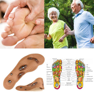 1 Pair Acupressure Slimming Insoles Magnetotherapy Foot Massage Magnet Therapy Foot Pain Anti-fatigue Foot Care Insoles