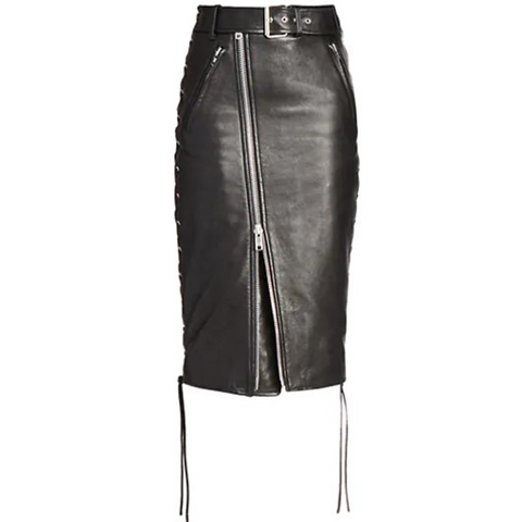 Balenciaga Leather Biker Skirt