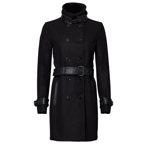 The Kooples Wool Leather Belted Trench