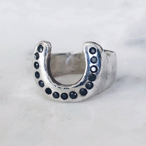 Black Diamond Horseshoe Ring