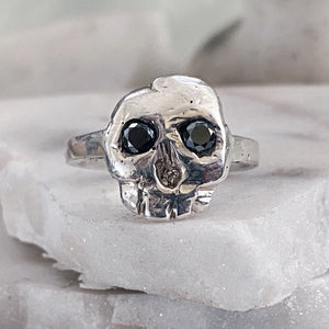 Skull Ring with Black Diamond Eyes