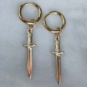 14k Gold Baby Dagger Earrings