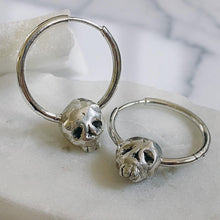 Load image into Gallery viewer, Skull Sterling Silver Hoop Earrings