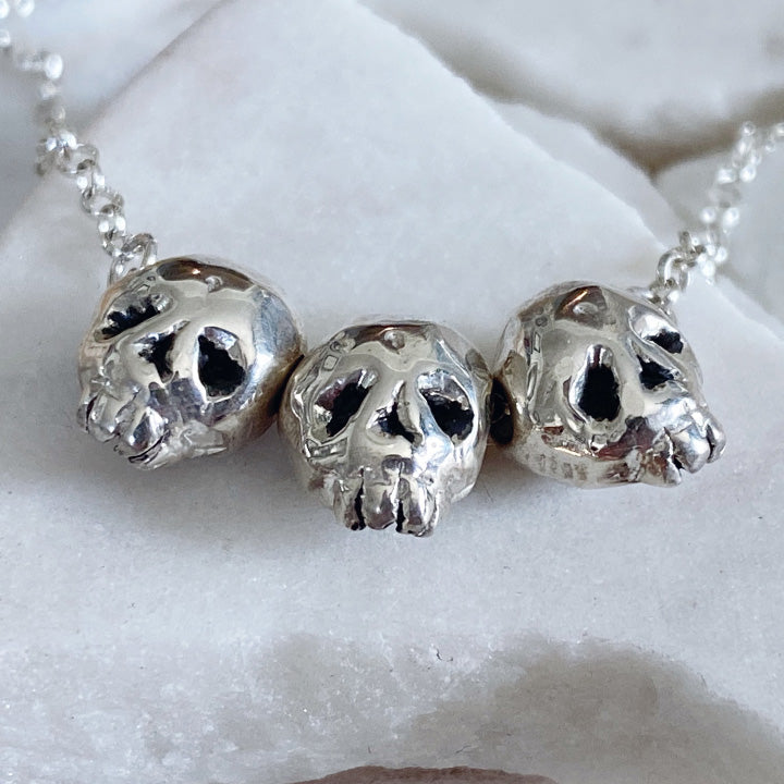 Triple Threat Skull Necklace