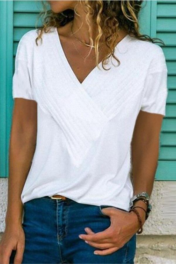 Paneled Solid V-neck Short Sleeve Casual T-shirt