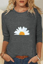 Daisy Print Paneled Crew Neck Casual Long Sleeves T-shirt
