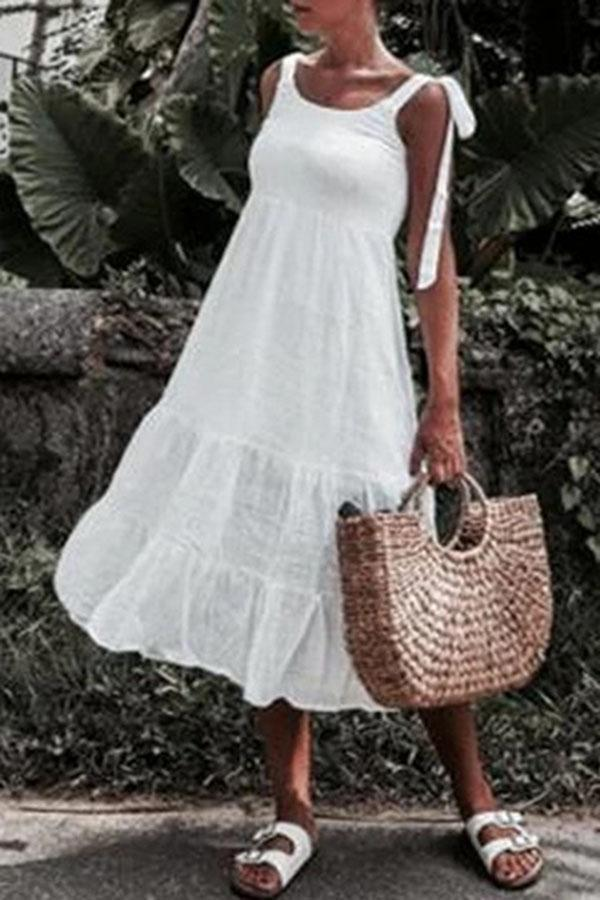 Paneled Solid Casual Sling Sleeveless Midi Dress