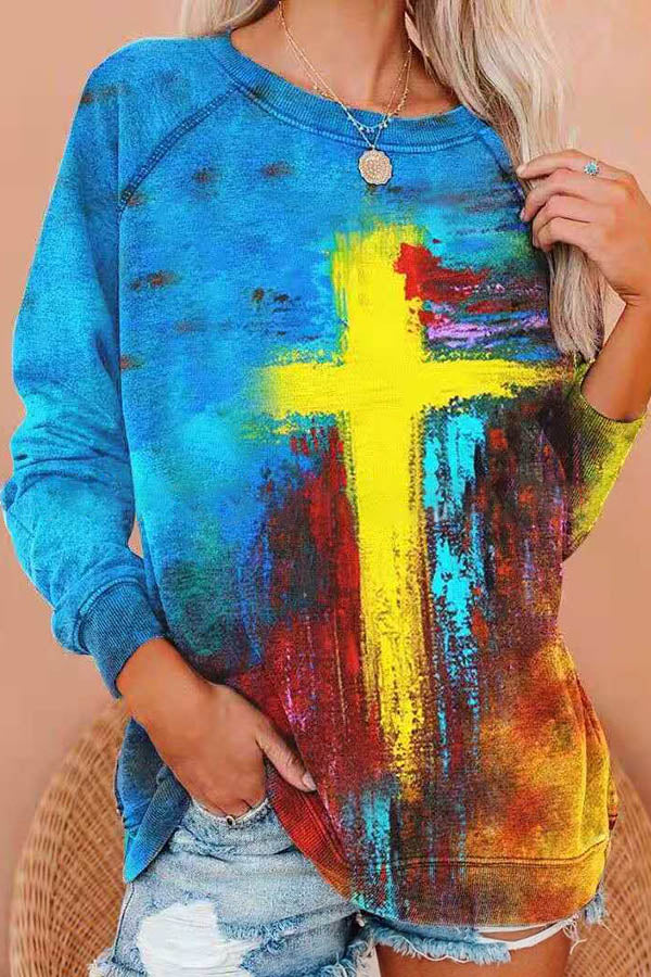 Street Trendy Yellow Cross Gradient Print Raglan Sleeves T-shirt