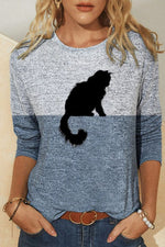 Literary Cat Profile Black Print Color Block Long Sleeves T-shirt