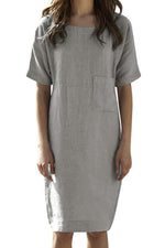 Linen Pocket Front Shift Dress