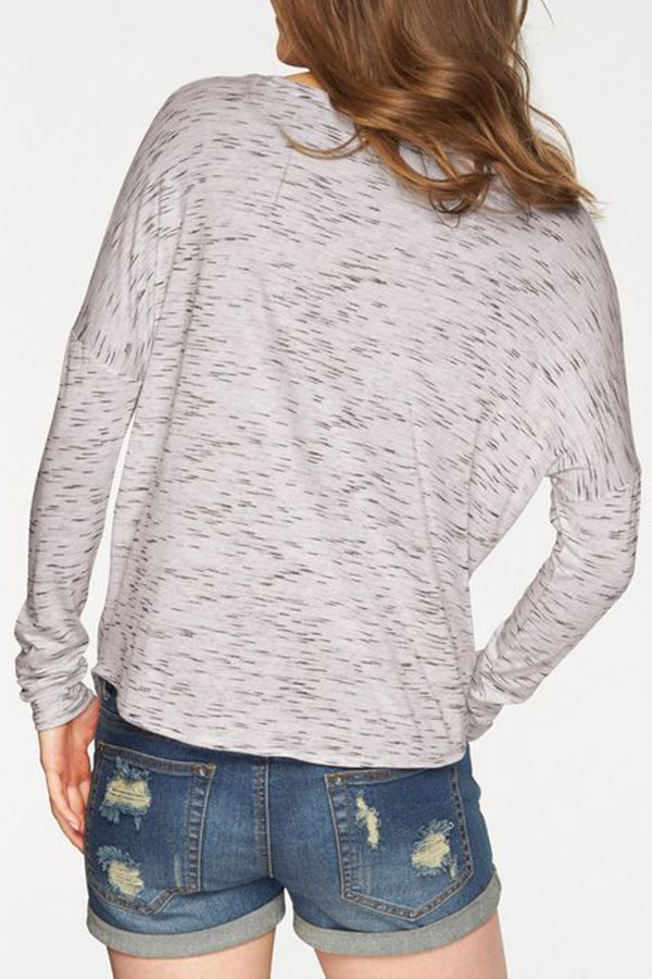 Solid Casual Round Tie Long Sleeves T Shirt