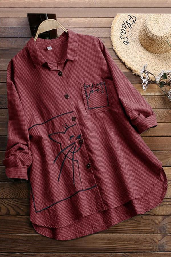Embroidery Long Sleeves Casual Blouses