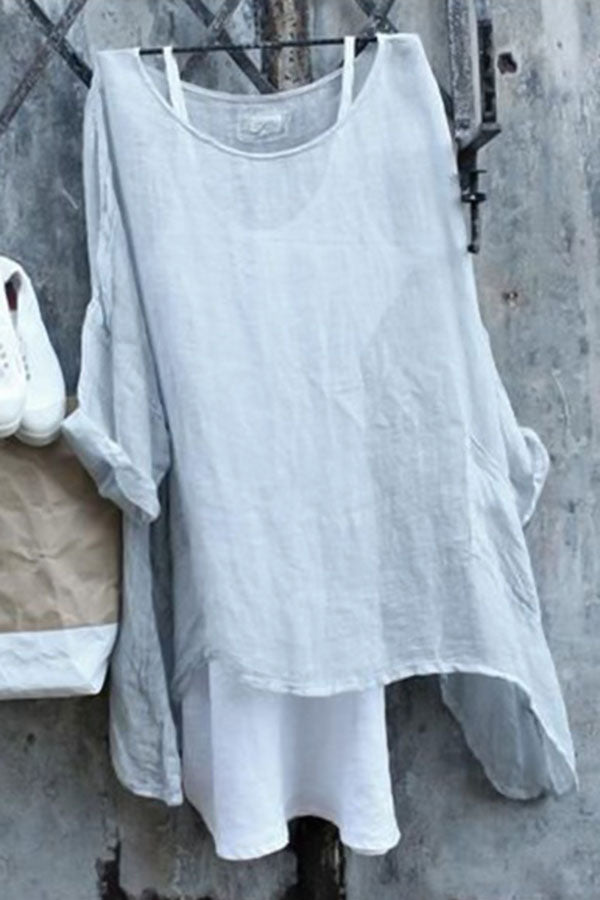 Solid Paneled Batwing Casual Folds Blouse